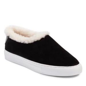 New Tory Burch Miller Shearling Suede Sneakers